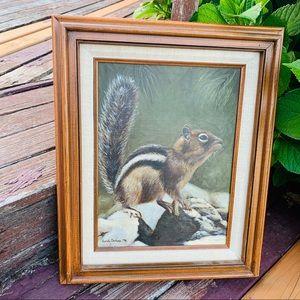 Vintage Framed/Signed Squirrel Motif Painting 1976